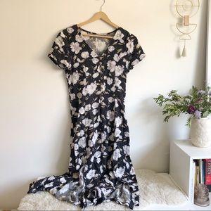 VINTAGE Floral Button-up Romantic Maxi Dress
